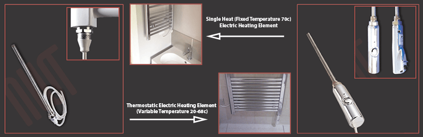 Image of electric elements installed to NWT Towel Rails